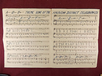 Vintage 1931 American District Telegraph Co. ADT Theme Song Sheet Music