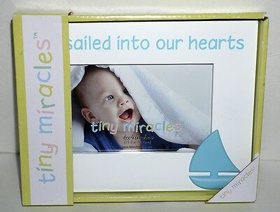 Tiny Miracles You Sailed into our hearts Sail Boat White Baby Blue Picture Frame