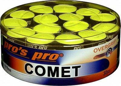 30er Box Pros Pro Comet; 30 Overgrips 0,7 mm lime-gelb (ähnlich wie Ultra Tacky)