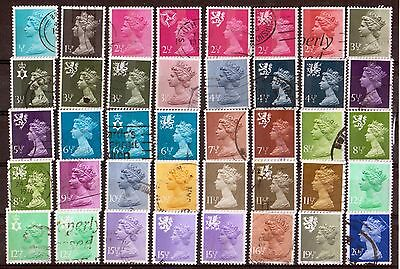 QEII 1971-96 stamps in 1/2p increments used (j404)