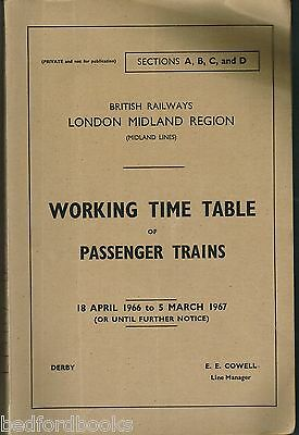 BR(M) Sections A, B, C, and D Working Timetable of Passenger Trains 1966