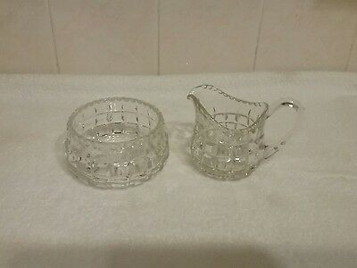 Glass Milk & Sugar Bowl