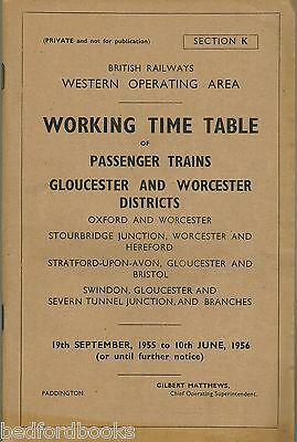 BR(W) Working Timetable Passenger Trains Gloucester and Worcester Districts 1955