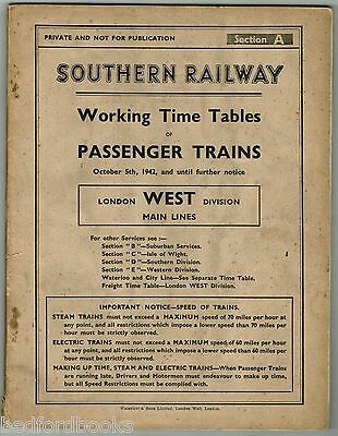 SR London West Division Working Timetable of Passenger Trains Main Lines 1942