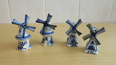 2 sets VINTAGE DELFT BLUE AND WHITE WINDMILL SALT & PEPPER SHAKERS CRUET SET