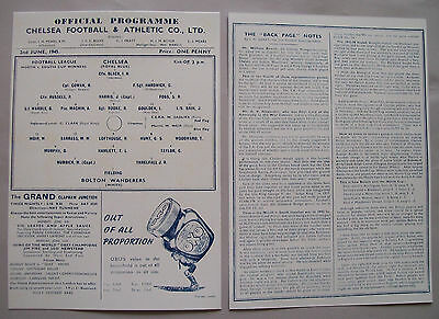1945 F.A. League cup final programme Chelsea v Bolton Wanderers in Mint con..