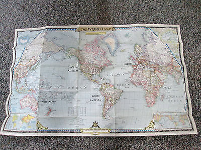Vtg 1951 National Geographic Magazine Large Color Map of the World 562