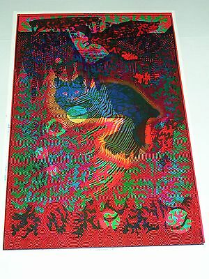 RARE VINTAGE ETW PSYCHEDELIC Poster CHESHIRE CAT overprinted LISTEN SLEEP DREAM