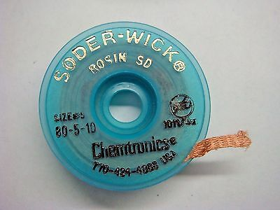 (1) Chemtronics 80-5-10 10ft x .060in Size #5 Desoldering Braid Soder-Wick Rosin