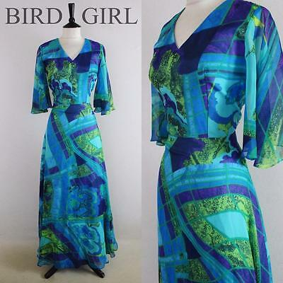 Boho Chic 1970S Vintage Blue Abstract Paint Print Floaty Elegant Maxi Dress 12