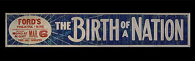 D.W. GRIFFITH'S THE BIRTH OF A NATION 1916 ORIGINAL Movie Poster THEATER BANNER!