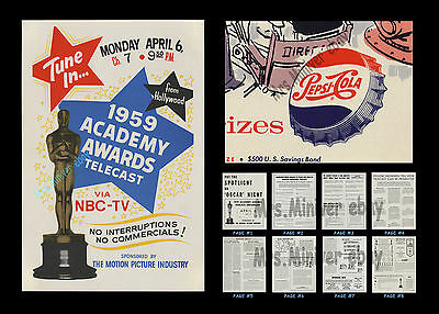 1959 Academy Awards RARE PRESS BOOK & KIT W/ PEPSI-COLA CONTEST POSTER +2 OTHERS