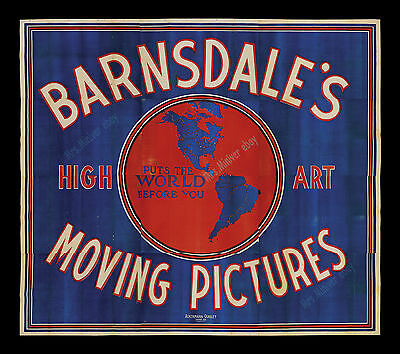 1900! Earliest Known Billboard For Motion Pictures - Barnsdale's Moving Pictures