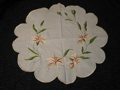 Lovely Antique Hand Embroidered Society Silk Doily~Centercloth~Tiger Lilies