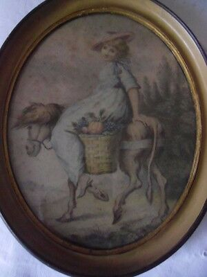 Antique Framed Hand Coloured Engraving Girl Riding a Donkey