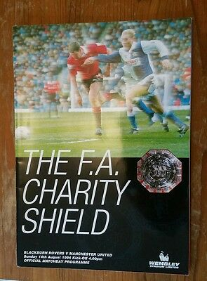 1994 FA Charity Shield - Blackburn Rovers v Manchester United - Programme EXC