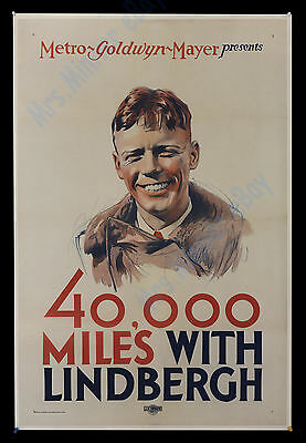 1928 MGM - 40,000 MILES WITH CHARLES LINDBERGH MOVIE POSTER 1-Sheet   ONLY KNOW!