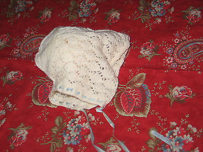 Darling Antique Crochet Lace Baby or Large Doll Bonnet~Off White