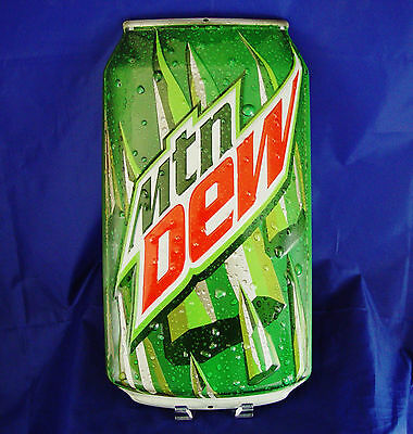 Mountain Dew Embossed Can Metal Tin Sign Pop Cola Old New Man Cave Garage Large