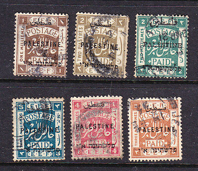 Palestine postage stamps - 1920s 6 x used overprints - collection odds