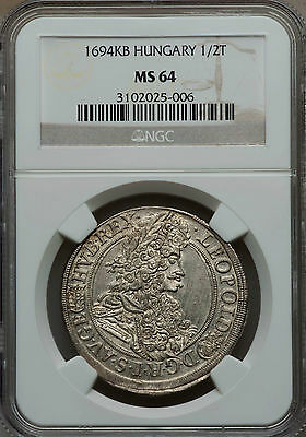 """1694-KB. Hungary. Leopold I (1657-1705) """"The Hogmouth"""" 1/2 Taler. NGC MS-64"""