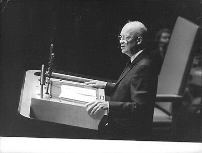 Vintage photo of Dwight D. Eisenhower standing while giving speech.