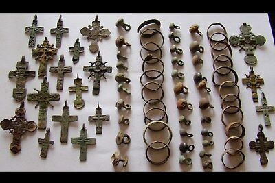 GENUINE Ancient Wedding Bronze RINGS,Crosses,Buttons-DETECTOR FIND (3)