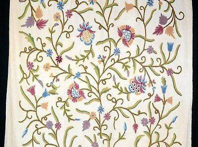 crewel fabric wool embroidered drapery remnant curtain 5 yd continuous vintage