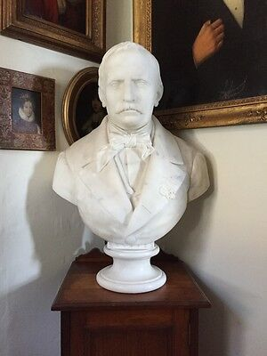 Antique 19th Century Solid Marble Portrait Bust Of A Man Signed O Buccini 1864
