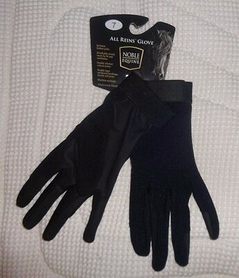 NOBLE EQUINE Riding Gloves -BLACK- Size 7 -Breathable Mesh/Cotton Material- NEW