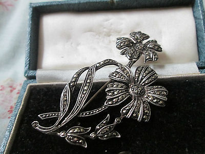 Antique Art Deco Sterling Silver & Marcasite Flower Brooch, Made In England