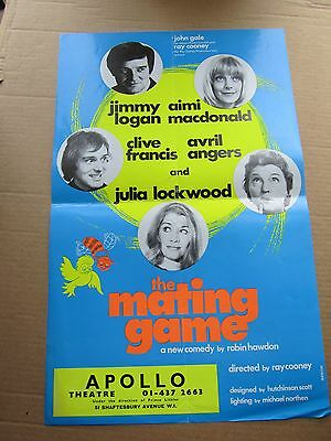 1970s Small London Theatre Poster Jimmy Logan in The Mating Game