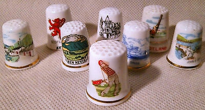 Collection of Eight Scottish Themed Thimbles