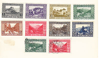 Bosnia postage stamps - Old Album Page 1910 8 x UNUSED and 2 x used