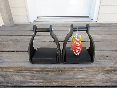 """NWT Showman Endurance stirrups for western riding saddle padded foot 5""""+ wide"""