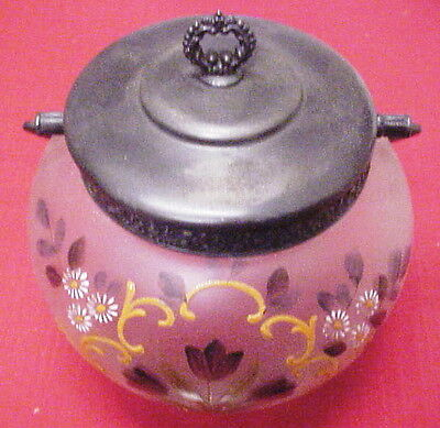 Biscuit Jar - Vintage - Hand Painted - Handle - Beautiful