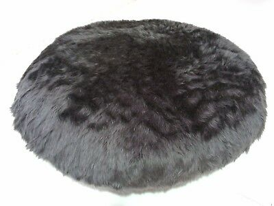 Large 80cm Floor Cushion Round Grey Faux Fur Filled Removable Cover Mandala