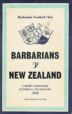Barbarians v New Zealand 27 Jan 1973 RUGBY PROGRAMME GREATEST TRY EVER
