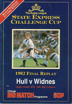 Hull v Widnes 19 May 1982 RUGBY LEAGUE CHALLENGE CUP FINAL REPLAY PROGRAMME