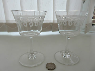 Pair of vintage engraved port or sherry glasses