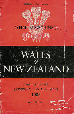 Wales beat New Zealand All Blacks 1953 RUGBY PROGRAMME Cardiff Arms Park
