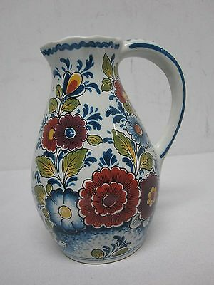 VINTAGE DELFT #158 PITCHER with PRETTY FLOWERS ~ 6 1/4""