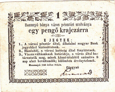 1 Pengo Kreutzer Rebell Government Issued Note 1849 Hungary!!