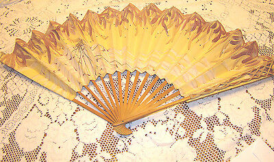 Vintage Antique Paper & Wood Hand Painted Handheld Folding Fan