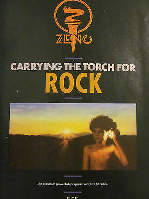Zeno, Carrying the Torch For Rock, Full Page Promotional Ad