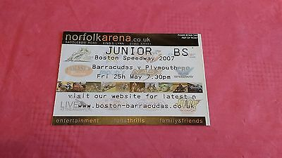 Boston Barracudas v Plymouth 2007 Used Speedway Ticket