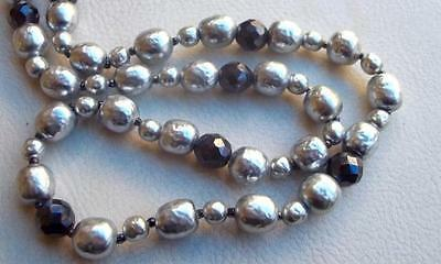 MIRIAM HASKELL Vintage Necklace Elegant Silver Baroque Pearls Black Glass Beads