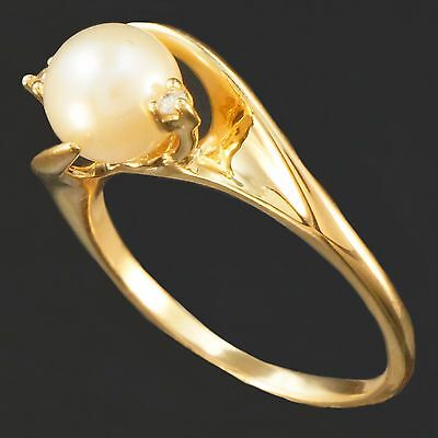 14K Yellow Gold, Pearl & Diamond Wedding Engagement Bypass Ring