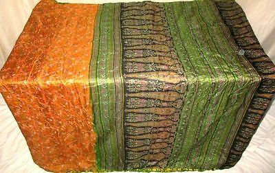 Brown Green Pure Silk 4 yd Vintage Antique Sari Saree Market Stylish Girl #ADU7U
