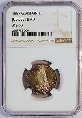 1887 Great Britain Jubille Head Shilling (NGC MS 63) Prooflike Obverse LV707